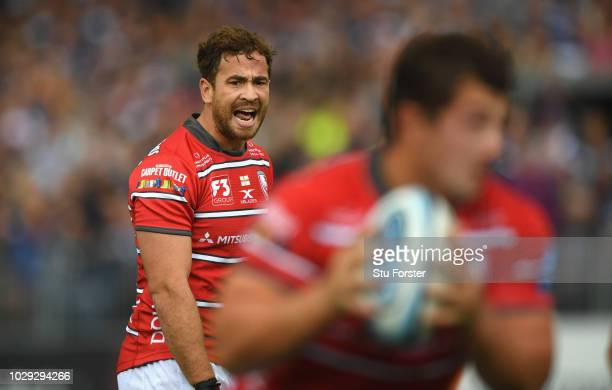 Gloucester player Danny Cipriani reacts during the Gallagher Premiership Rugby match between Bath Rugby and Gloucester Rugby at Recreation Ground on...