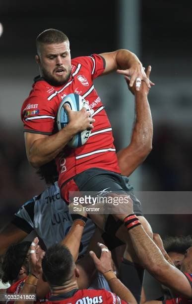 Gloucester player Ed Slater wins a lineout ball during the Gallagher Premiership Rugby match between Gloucester Rugby and Bristol Bears at Kingsholm...