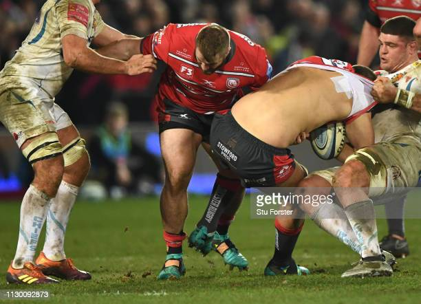 Gloucester player Gerbrandt Grobler has his shirt pulled off during the Gallagher Premiership Rugby match between Gloucester Rugby and Exeter Chiefs...