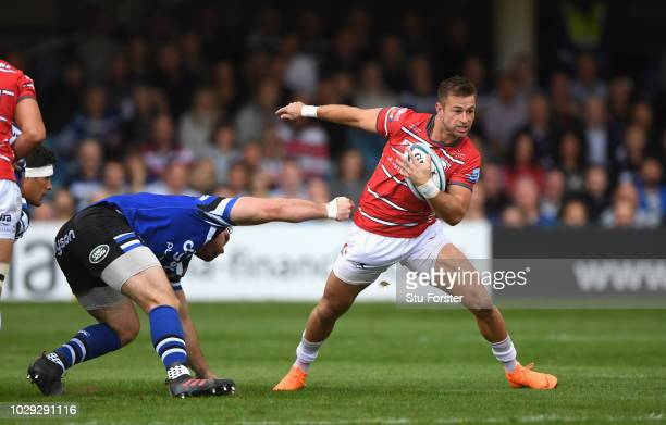 Gloucester player Henry Trinder breaks a tackle during the Gallagher Premiership Rugby match between Bath Rugby and Gloucester Rugby at Recreation...