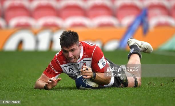 Gloucester player Jake Polledri dives over to score his try during the Heineken Champions Cup Round 3 match between Gloucester Rugby and Connacht...