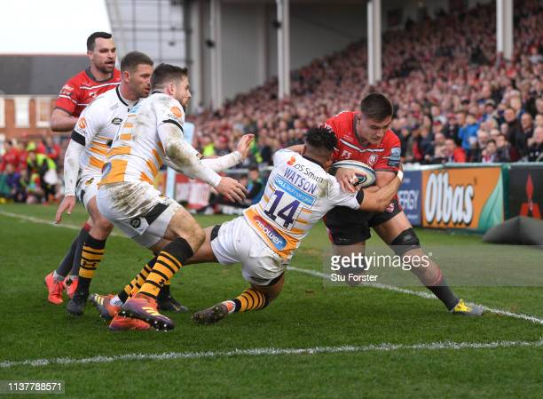 Gloucester player Jake Polledri gets past Wasps wing Marcus Watson to score the third Gloucester try during the Gallagher Premiership Rugby match...