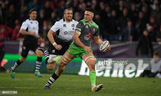Gloucester player Jake Polledri in action during the European Rugby Challenge Cup match between Gloucester Rugby and Zebre at Kingsholm on December...