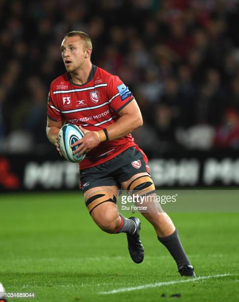 Gloucester player Ruan Ackermann in action during the Gallagher Premiership Rugby match between Gloucester Rugby and Bristol Bears at Kingsholm...