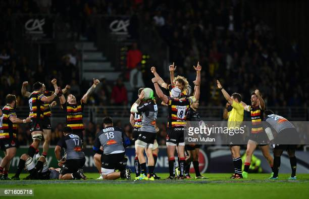 Gloucester players celebrate victory on the final whistle during the European Rugby Challenge Cup Semi Final match between La Rochelle and Gloucester...