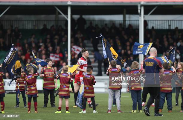 Gloucester players run out prior to the Aviva Premiership match between Worcester Warriors and Gloucester Rugby at Sixways Stadium on February 17...