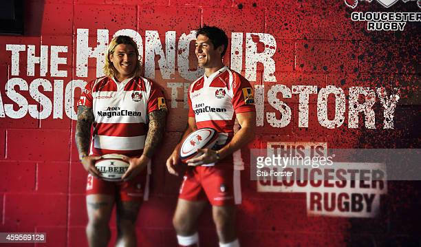 Gloucester Rugby and Wales players James Hook and Richard Hibbard pictured at Kingsholm Stadium on August 13 in Gloucester England