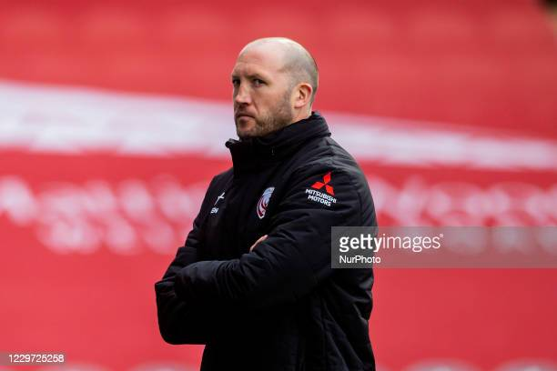 Gloucester Rugby Head Coach Johan Ackermann during the Gallagher Premiership match between Leicester Tigers and Gloucester Rugby at Welford Road...