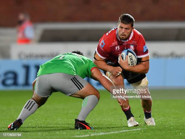 Gloucester Rugby's Ed Slater is tackled by Harlequins' Santiago Garcia Botta during the Gallagher Premiership Rugby match between Gloucester Rugby...