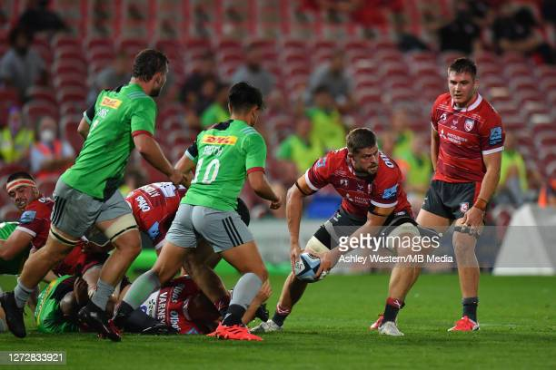 Gloucester Rugby's Ed Slater passes during the Gallagher Premiership Rugby match between Gloucester Rugby and Harlequins at Kingsholm Stadium on...