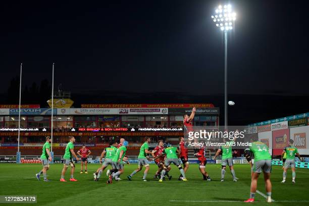 Gloucester Rugby's Jake Polledri claims the lineout during the Gallagher Premiership Rugby match between Gloucester Rugby and Harlequins at Kingsholm...