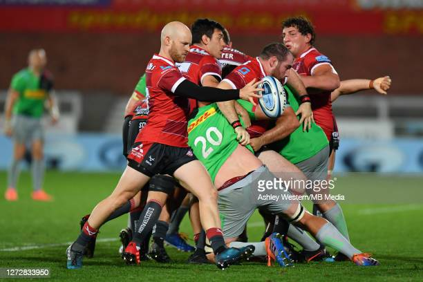 Gloucester Rugby's Joe Simpson kicks during the Gallagher Premiership Rugby match between Gloucester Rugby and Harlequins at Kingsholm Stadium on...