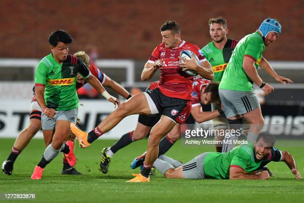Gloucester Rugby's Jonny May battles for possession with Harlequins' Marcus Smith during the Gallagher Premiership Rugby match between Gloucester...
