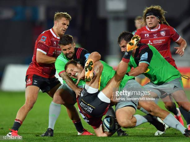 Gloucester Rugby's Jonny May is tackled by Harlequins' Andre Esterhuizen during the Gallagher Premiership Rugby match between Gloucester Rugby and...