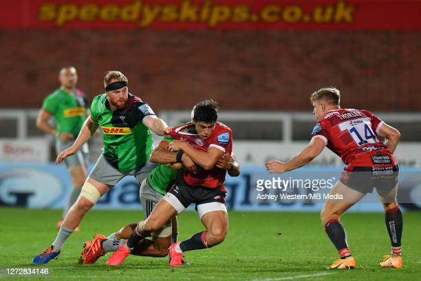 Gloucester Rugby's Louis ReesZammit is tackled by Harlequins' James Chisholm during the Gallagher Premiership Rugby match between Gloucester Rugby...