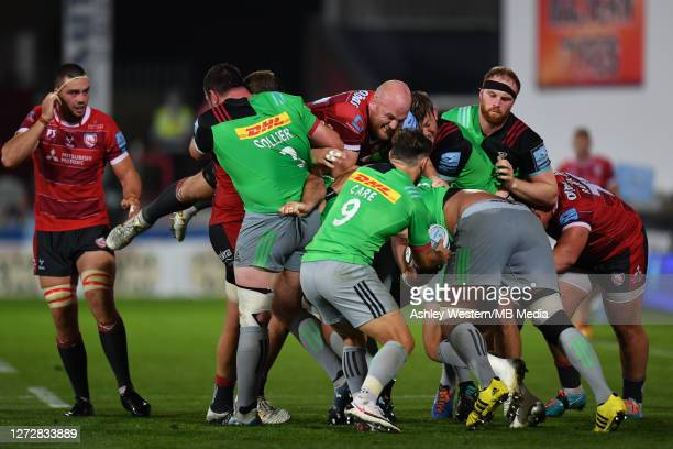 Gloucester Rugby's Matt Garvey battles for possession with Harlequins' Danny Care during the Gallagher Premiership Rugby match between Gloucester...