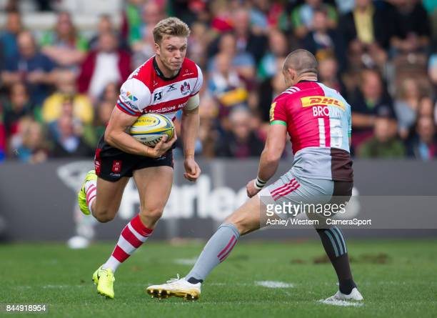 Gloucester Rugby's Ollie Thorley in action during the Aviva Premiership match between Harlequins and Gloucester Rugby at Twickenham Stoop on...