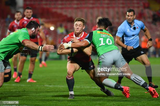 Gloucester Rugby's Stephen Varney is tackled by Harlequins' Marcus Smith during the Gallagher Premiership Rugby match between Gloucester Rugby and...