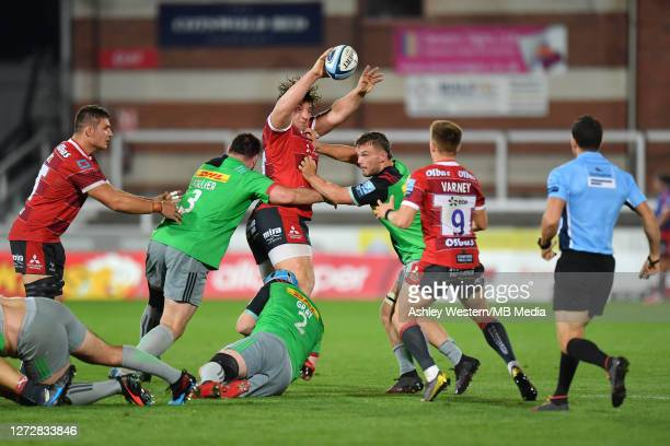 Gloucester Rugby's Val RapavaRuskin offloads to Stephen Varney during the Gallagher Premiership Rugby match between Gloucester Rugby and Harlequins...