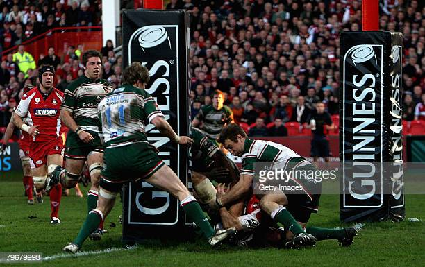 Gloucester unsuccessfully attempt to force across the line for a try during the Guinness Premiership match between Gloucester and Leicester Tigers at...