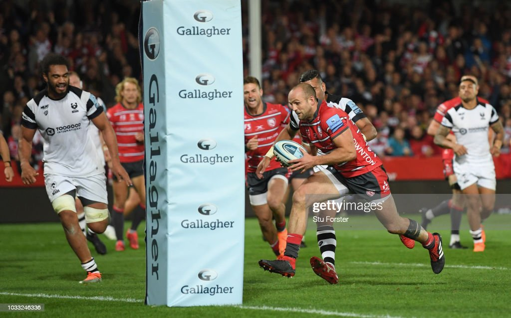 Gloucester wing Charlie Sharples goes through to score the second Gloucester try during the Gallagher Premiership Rugby match between Gloucester Rugby and Bristol Bears at Kingsholm Stadium on September 14, 2018 in Gloucester, United Kingdom.