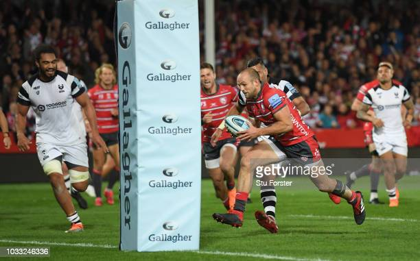 Gloucester wing Charlie Sharples goes through to score the second Gloucester try during the Gallagher Premiership Rugby match between Gloucester...