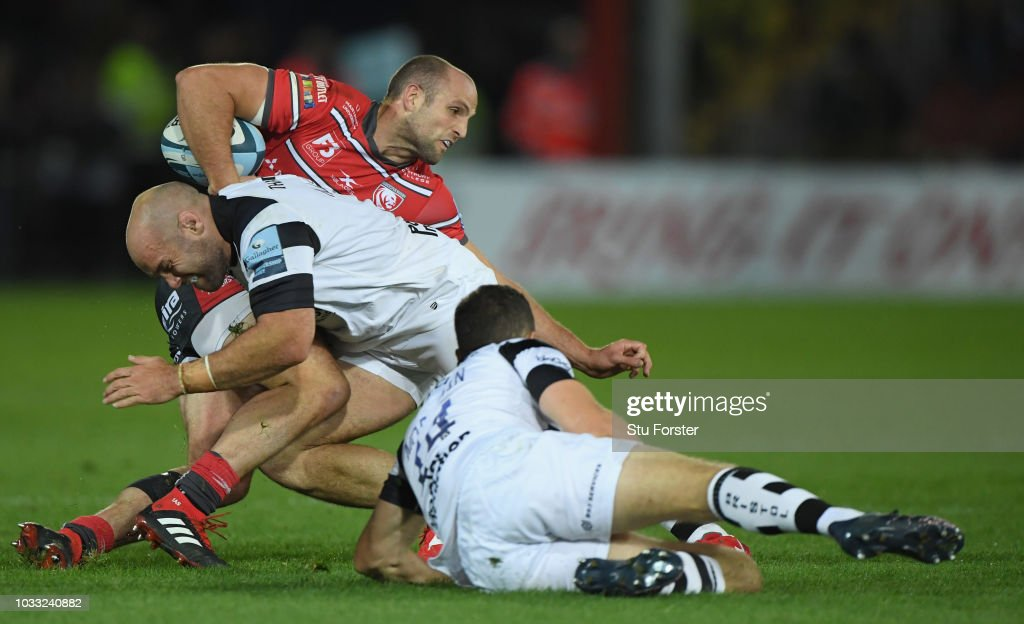Gloucester wing Charlie Sharples is tackled by Shaun Malton during the Gallagher Premiership Rugby match between Gloucester Rugby and Bristol Bears at Kingsholm Stadium on September 14, 2018 in Gloucester, United Kingdom.
