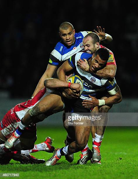 Gloucester wing Charlie Sharples puts in a tackle on Anthony Watson of Bath during the Aviva Premiership match between Gloucester Rugby and Bath...