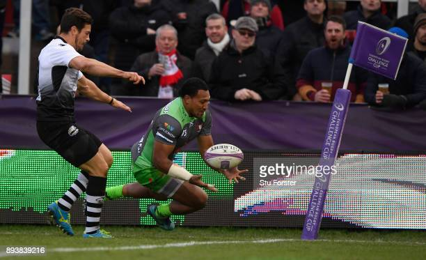 Gloucester wing David Halaifonua crosses for his second try during the European Rugby Challenge Cup match between Gloucester Rugby and Zebre at...