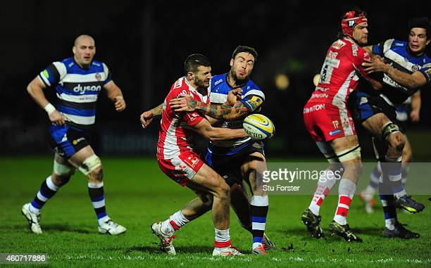 Gloucester wing Jonny May is hit hard by Matt Banahan of Bath during the Aviva Premiership match between Gloucester Rugby and Bath Rugby at Kingsholm...