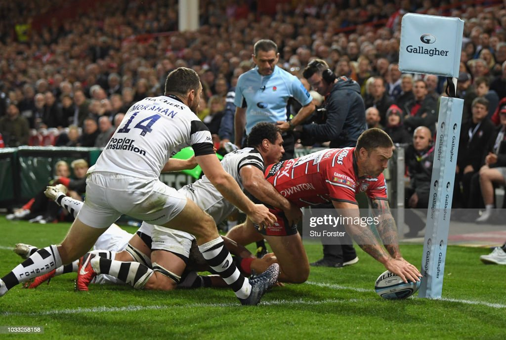 Gloucester wing Matt Banahan scores the final try in the corner during the Gallagher Premiership Rugby match between Gloucester Rugby and Bristol Bears at Kingsholm Stadium on September 14, 2018 in Gloucester, United Kingdom.