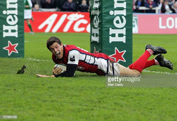 Gloucester's Anthony Allen scores a try during the Heineken Cup 2nd round match between Gloucester and SU Agen at Kingsholm on October 28 2006 in...