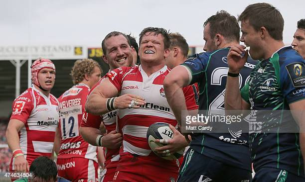 Gloucester's Darren Dawidiuk celebrates as he scores a try during the Gloucester Rugby v Connacht Rugby European Champions Cup PlayOff at Kingsholm...