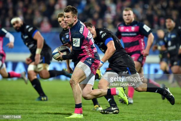 Gloucester's English centre Henry Trinder runs with the ball during the European Rugby Champions Cup Pool 2 rugby union match between Castres...