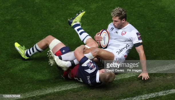 Gloucester's Henry Purdy is tackled by Bristol's Dan Thomas during the Gallagher Premiership match at Ashton Gate Bristol