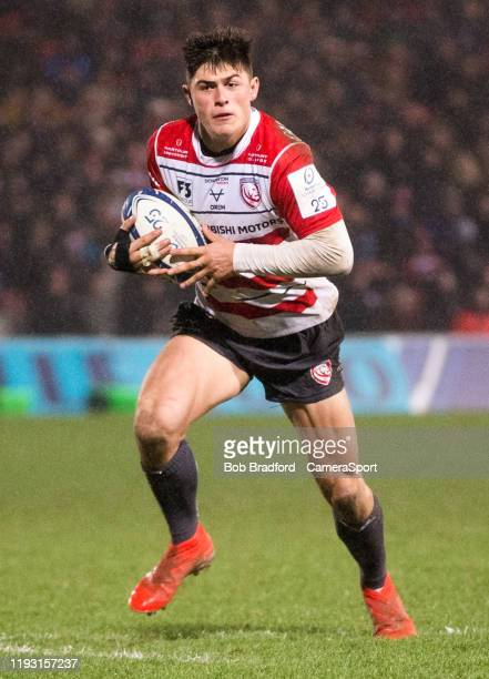 Gloucester's Louis Rees-Zammit in action during the Heineken Champions Cup Round 5 match between Gloucester Rugby and Montpellier Herault Rugby at...