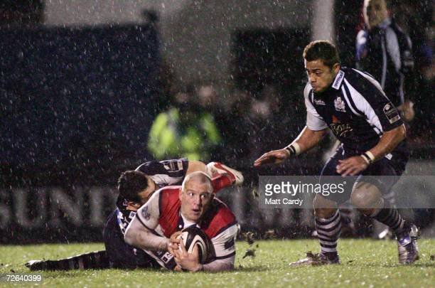 Gloucester's Mike Tindall is tackled during the Guinness Premiership match between Bristol Rugby and Gloucester Rugby at The Memorial Ground on...