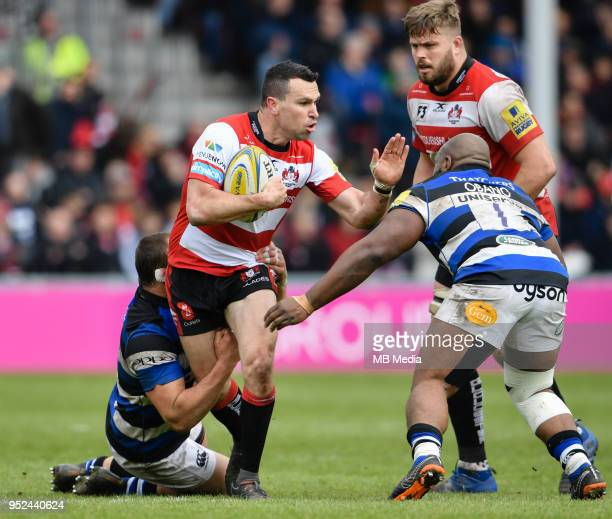 Gloucester's Tom Marshall is tackled by Bath Rugby's Beno Obano during the Aviva Premiership match between Gloucester Rugby and Bath Rugby at...