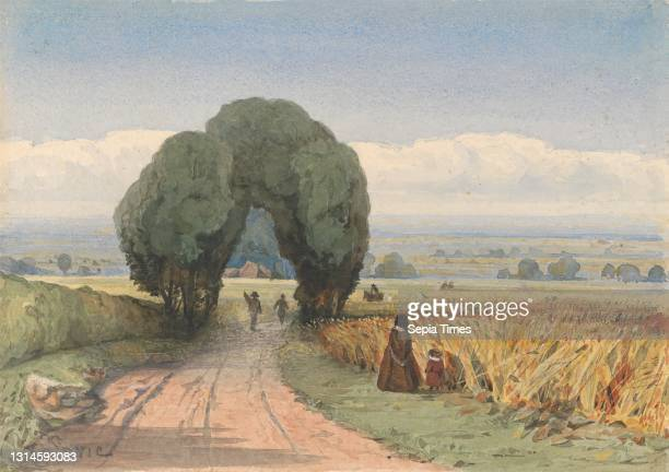Gloucestershire - a woman and child on a road bordering fields of ripe corn at Moreton-in-Marsh, William John Chamberlayne, 1821–1910, undated,...