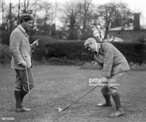 Gloucestershire and England batsman Gilbert Jessop receiving golf tuition from Harold Hilton circa 1904