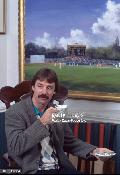 Gloucestershire and England cricketer and accomplished artist Jack Russell drinks a cup of tea in his gallery in Chipping Sodbury in 1997