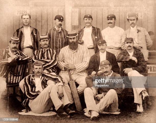 Gloucestershire and England cricketer Dr WG Grace as captain of the South XI posing with his team prior to their match against the North during the...