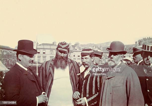 Gloucestershire and England cricketer Dr WG Grace with William Carless the Secretary of the Hastings Cricket Festival, 5th September 1898. Standing...