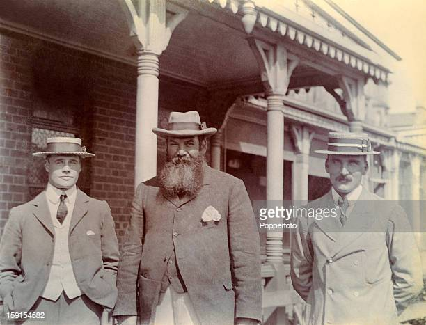 Gloucestershire and England cricketers Dr WG Grace William Gilbert Grace and Gilbert Jessop with Archie MacLaren of Lancashire at the Hastings...