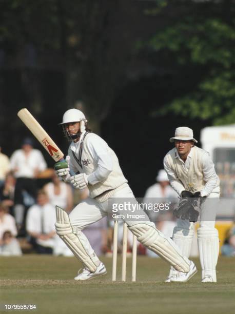 Gloucestershire batsman Kevin Curran picks up some runs during an innings of 93 runs watched by Glamorgan wicketkeeper Colin Metson during a...