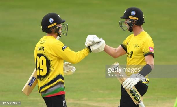 Gloucestershire batsman Ryan Higgins celebrates with Ian Cockbain after hitting the winning runs during the T20 Vitality Blast Quarter Final match...