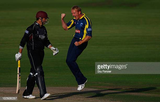Gloucestershire bowler Steve Kirby celebrates taking the wicket of Marcus Trescothick during the Friends Provident T20 match between Gloucestershire...