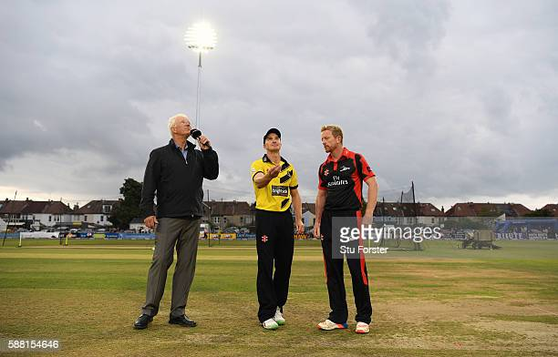 Gloucestershire captain Michael Klinger tosses the coin watched by Durham captain Paul Collingwood before the NatWest T20 Blast quarterfinal match...