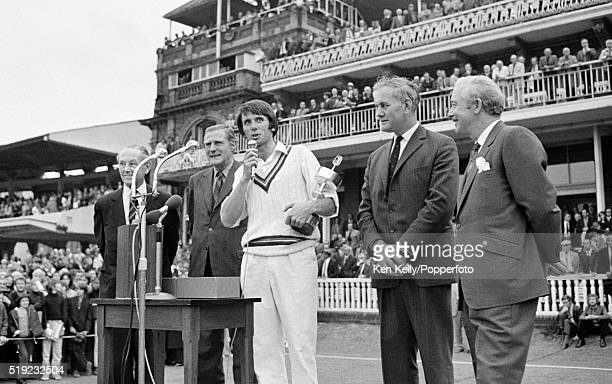 Gloucestershire captain Tony Brown holding the trophy as he speaks to the crowd following their victory over Sussex in the Gillette Cup Final at...