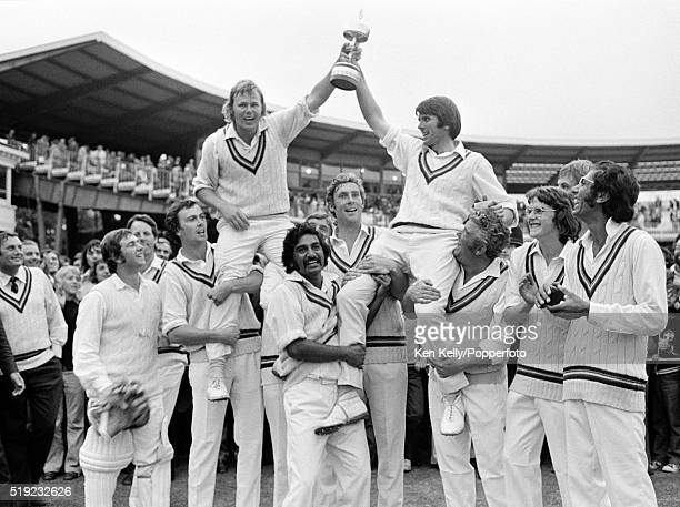 Gloucestershire celebrate after their victory over Sussex in the Gillette Cup Final at Lord's cricket ground in London, 1st September 1973....